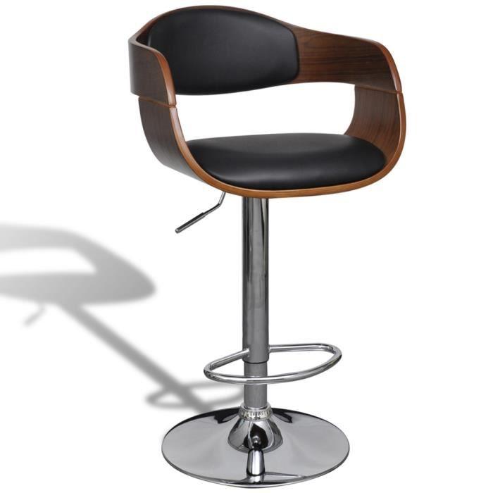 tabouret de bar bureau caf r glable en hauteur 87 109 cm avec accoudoir ergonomique en cuir. Black Bedroom Furniture Sets. Home Design Ideas