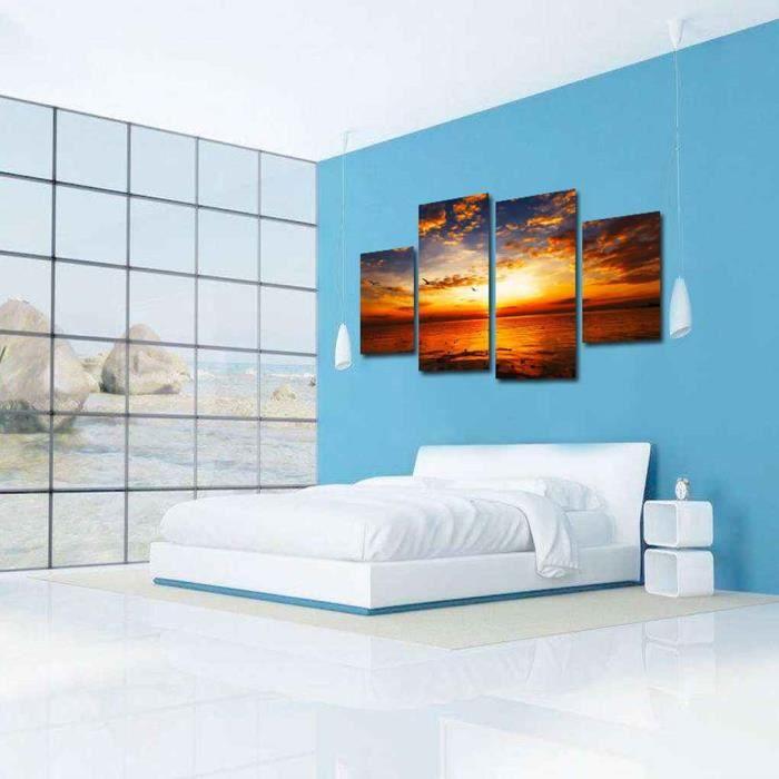 4pcs Tableau Peinture à Huile Décoration Murale Image Mer Soleil Couchant