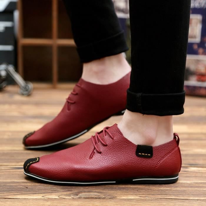 Souliers homme Flats Chaussures Chaussures Hommes Ashion Oxford véritable Hommes simple Chaussures cuir en Flats Mocassins Driving wvqfIg