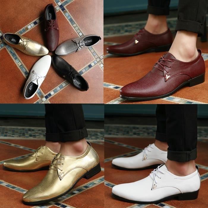 Mocassins plates Chaussures en cuir de chaussures d'affaires décontractée de luxe pour hommes,blanc,7,3292_3292