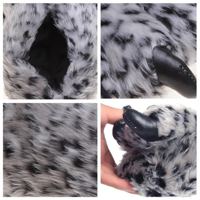 Pantoufles Femme Homme Patte Animal En Peluche Hiver Populaire BWYS-XZ163blanc41