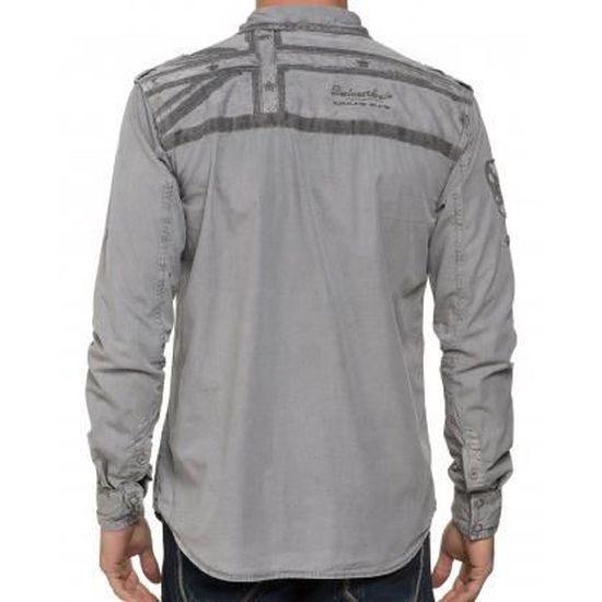 cfbd5c02fffff Chemise Boutonnée Grise Brodée Homme Gris Gris - Achat   Vente chemise -  chemisette - Cdiscount
