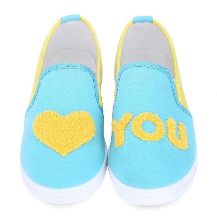 Coeur Patchwork Casual Forme Lettre Slip Imprimé Chaussures en toile respirantes pour dames tLQEt