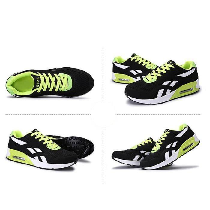 Homme Basket Chaussures de course Run Masculines Respirante Chaussures - Noir-vert