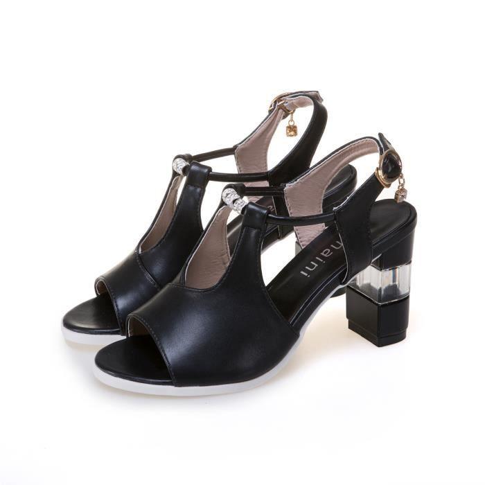 Biencome® Sandales à Talon Femmes Filles Casual Peep-Toe Sandales en PU - Noir