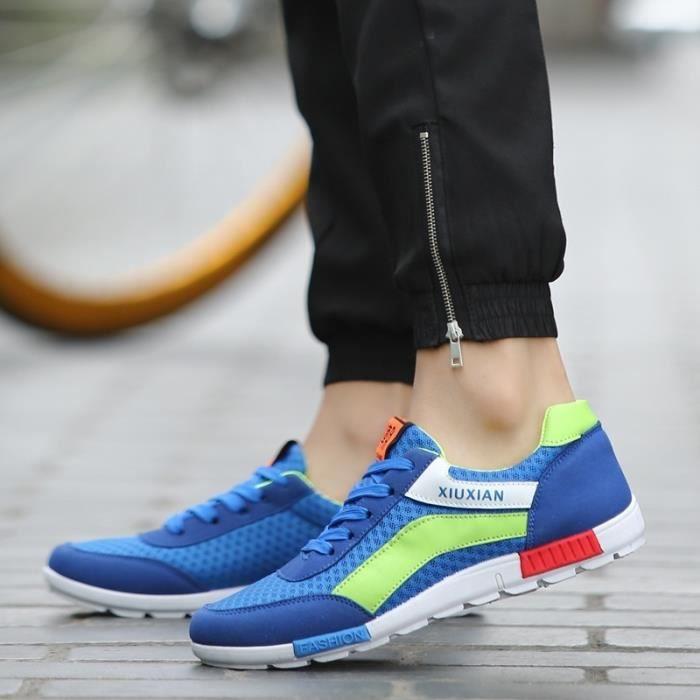 Mesh respirant Hommes Sport Flats Souliers simple d'homme Loisirs Chaussures Homme Chaussures actifs Mocassins Hommes,gris et bleu,8