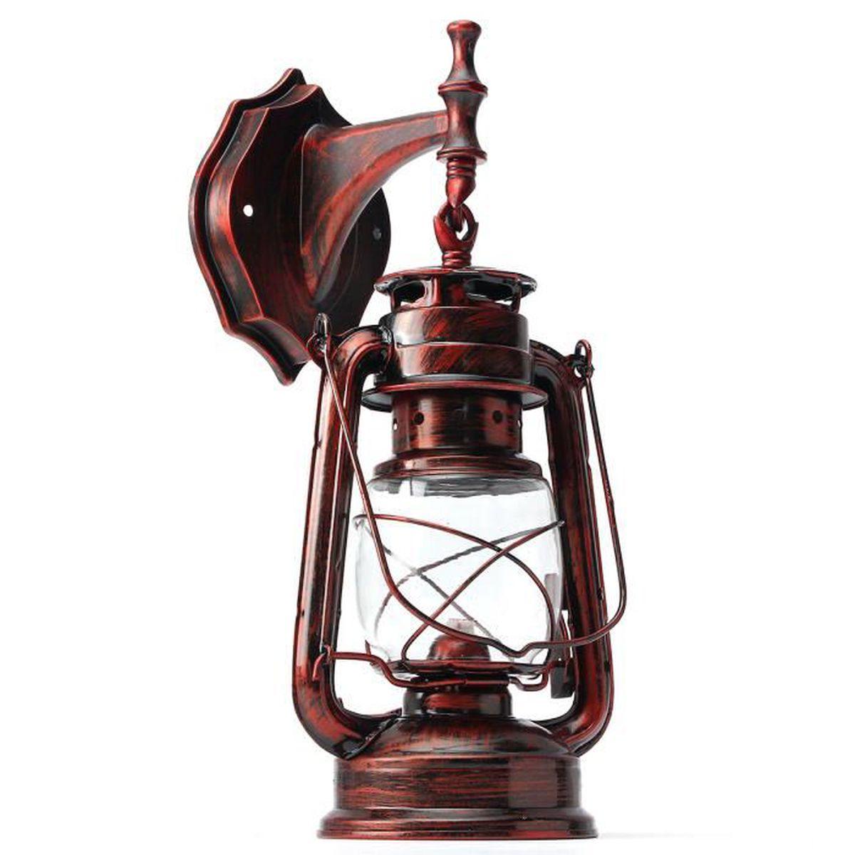 neufu abat jour ampoule industriel r tro lanterne lampe m tal rustique applique murale rouge. Black Bedroom Furniture Sets. Home Design Ideas