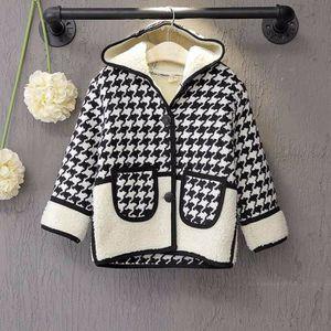 MANTEAU - CABAN Enfants filles Enfant Houndstooth Coat chaud Top P ... 66dc557c3ba