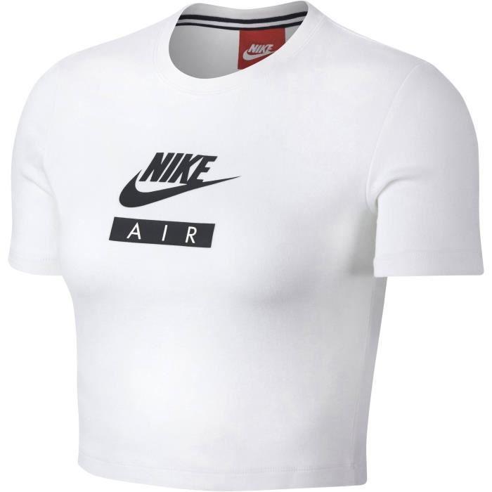 8b5fdc9085af NIKE T-shirt Nsw Baby Air - Femme - Blanc Blanc - Achat   Vente t ...
