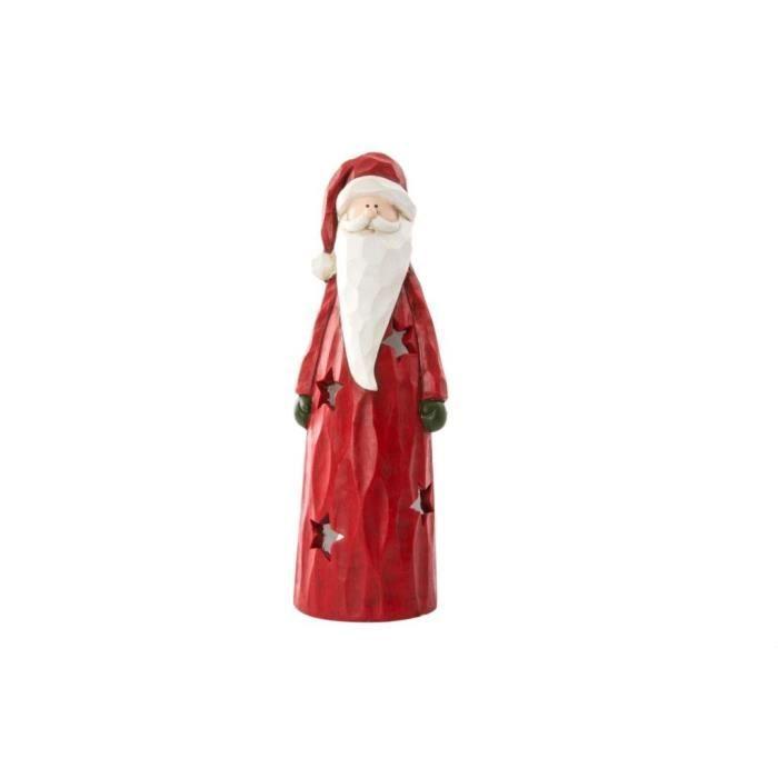 Personnage de Noël : Père Noël en fibre 13,5x12,5x39,5 cm