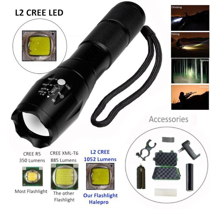sdt1868 Xml Torche Chargeur Tactique L2 Support Led18650 Batterie Lampe Zoomable Case 7gybvf6Y