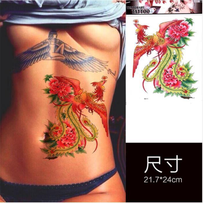 tatouage temporaire réaliste femme - motif phoenix - achat / vente