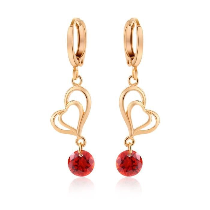 Boucles doreilles coeur zirconiums plaqué or couleur Rouge