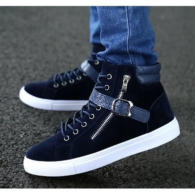 Les chaussures d'hommes plus de velours Souliers baskets hommes d'hiver, bleu 42