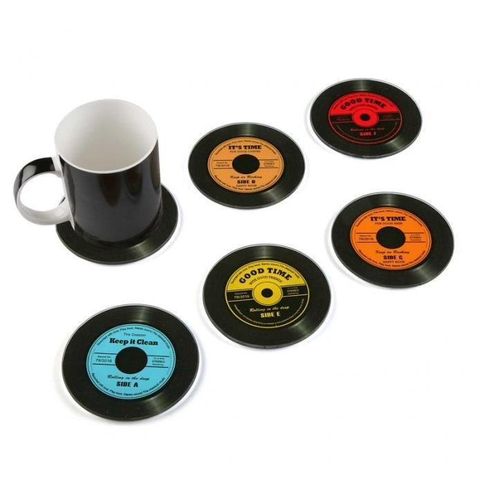 Set 6 Dessous De Verre Neuf Design Disque Vinyle En Verre De 11cm