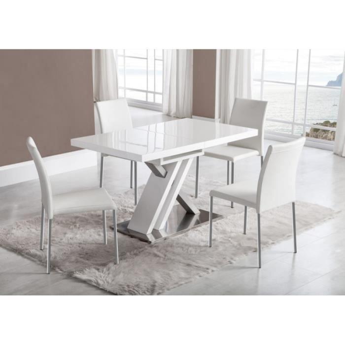 Table ORION extensible en bois laqué blanc et argent longueur 130 ...