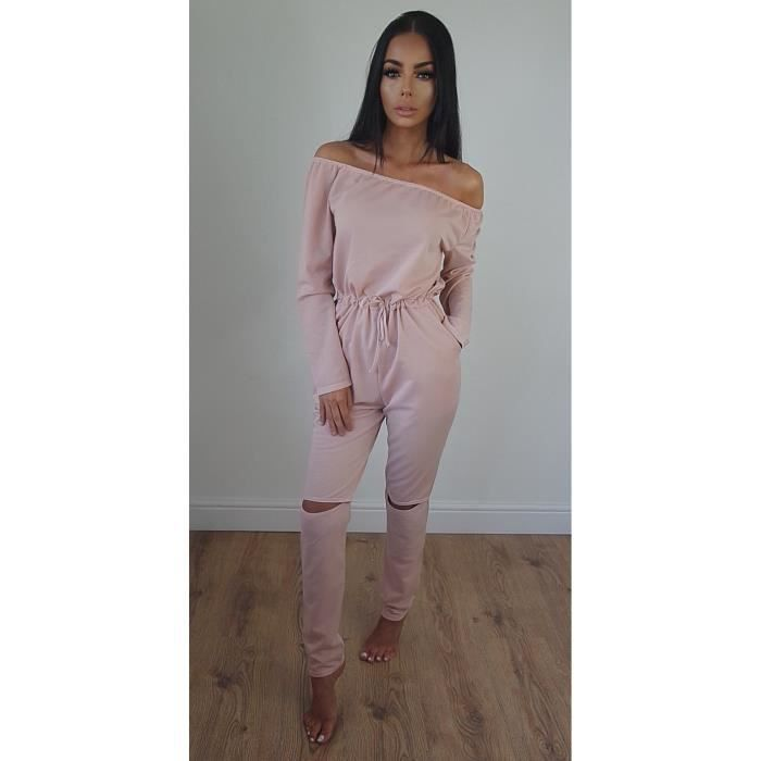 Femme Combinaison Epaules Pantalon Rose Dénudées Achat Tro 88qrwdnP