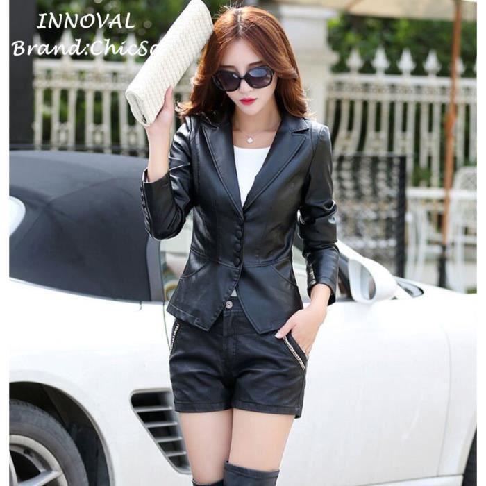 Veste courte noire pour femme
