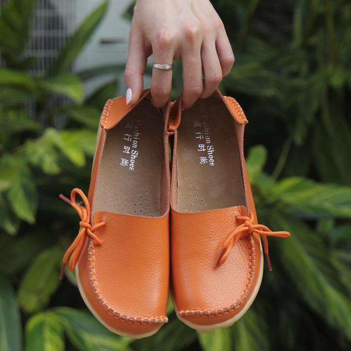 Sidneyki®La lettre des femmes Soft Lace-Up décontracté chaussures plates pois antidérapant chaussures extérieures Orange XKO509 fyOmIU