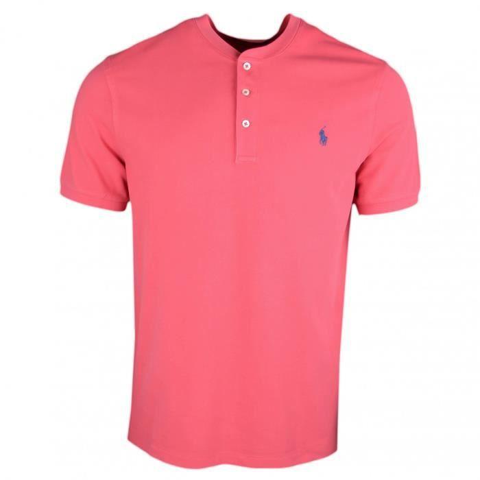 9fb4f49c6a213 Polo piqué Ralph Lauren rouge vieilli logo marine col mao pour homme -  Taille  S - Couleur  Rouge