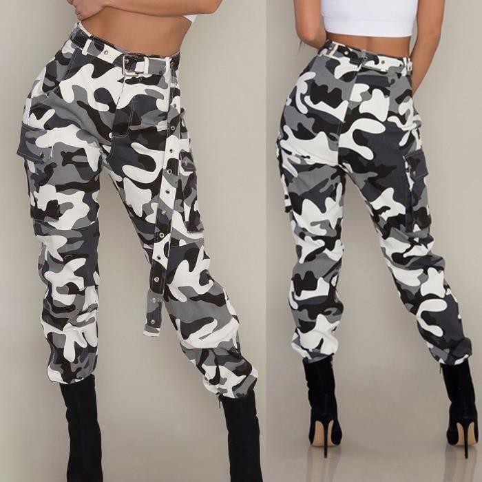Femmes Camo Cargo Pantalons Pantalons Casual Militaire Armée Combat Camouflage  Pantalon XYM80724901 blanc 51d8f51decc