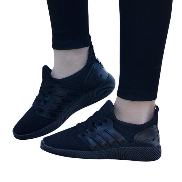 fd13d189f69 Chaussures pour homme Respirant Souliers simple Chaussures de course  Chaussures de sport étudiant Noir