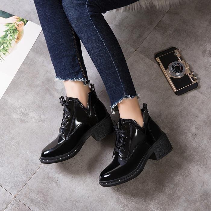 Cuir En mode À Deessesale Bout Wy4265 Verni Chaussures Martin Bottes Lacets Casual Femme Plat Rond Hqfqz