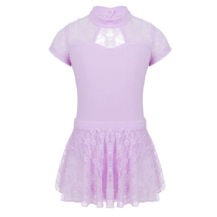 Enfants Filles Justaucorps Manches Courtes Danse Ballet Robe Patinage  Artistique 3-12 Ans Violet 9c15ff19947