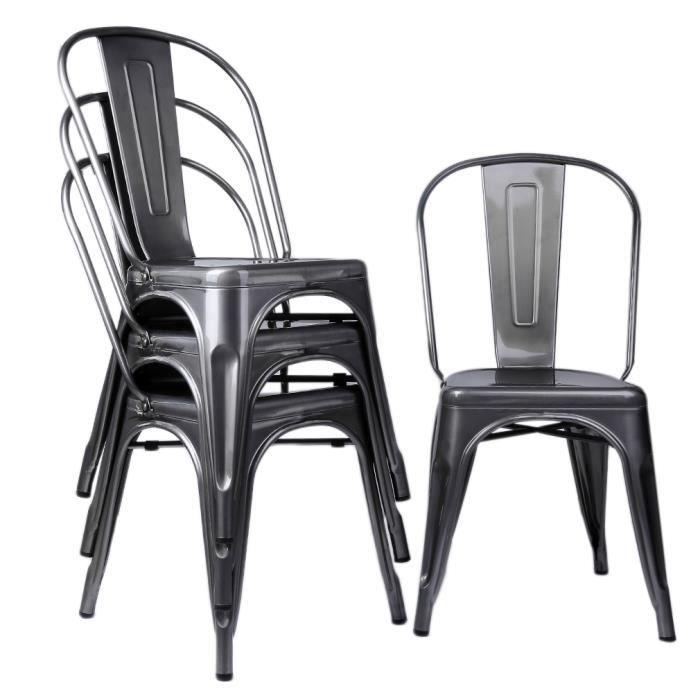 chaise style industriel lot de 4 chaises de salle mange