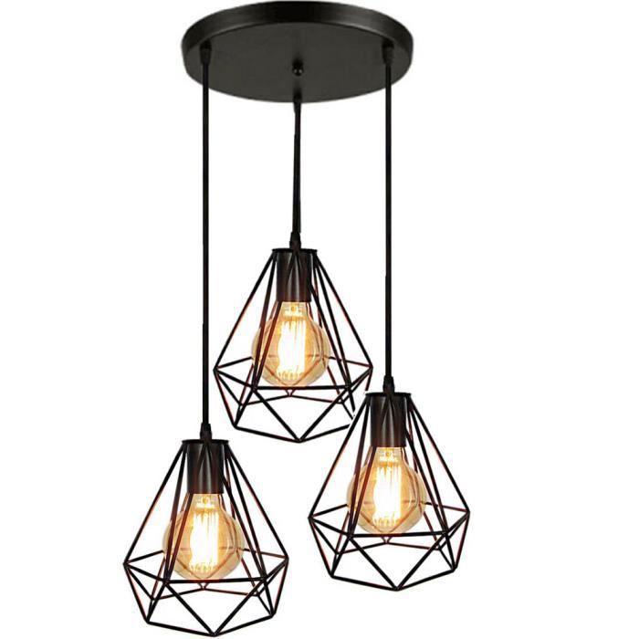 LUSTRE ET SUSPENSION Rétro Style Industriel 3 Luminaire Lampe Suspendue 29d7acfbf62a