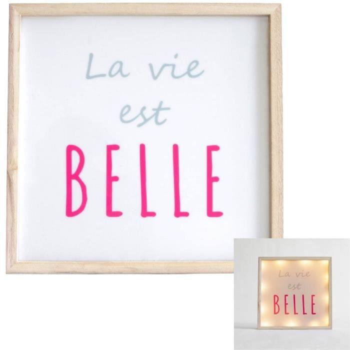 lampe cadre a suspendre panneau lumineux citation la vie est belle achat vente lampe cadre a. Black Bedroom Furniture Sets. Home Design Ideas