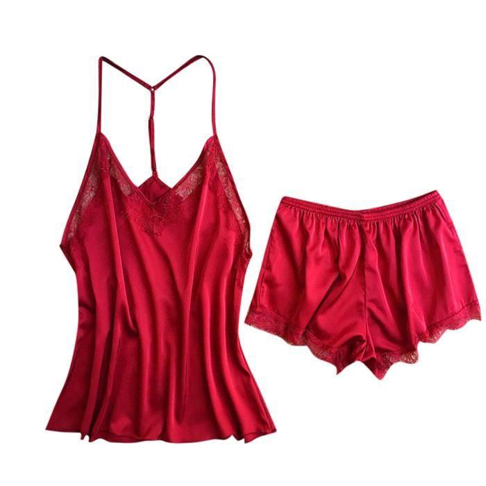 Set Sexy Chemise Dentelle Femmes Sous En Sling Bustier Nuit Corset vêtements Red lingerie De KqyUyZ7T