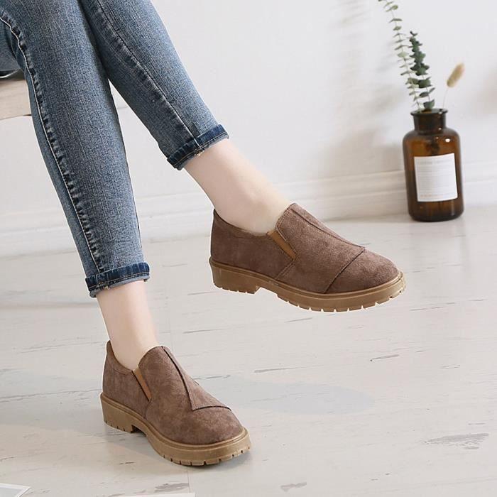 on Faible Femmes Casual Cheville Chaussures Slip rond Hx2983 À Toe Kaki Cuir En Bottes Martin Les wEpdPP
