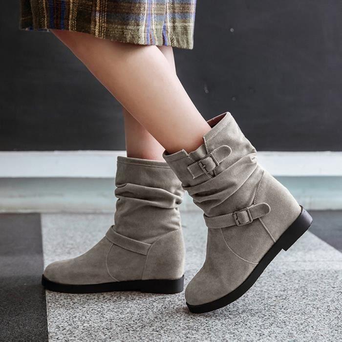 Cheville Martin Gris Shoes Toe Bottes Ronde Femmes Solide Métal Rétro Augmenter Chaudes HpqgXU