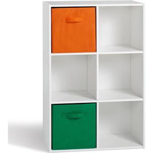 COMPO Meuble de rangement 6 cases contemporain blanc - L 62 cm