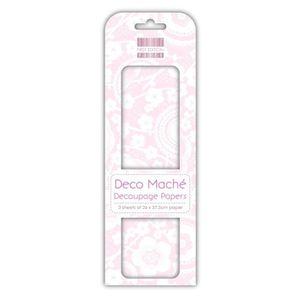 DECO MACHE 3 feuilles de papier découpage Isabelle Pink Blossom