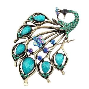 BROCHE Style vintage paon féminin Forme Broche strass cou