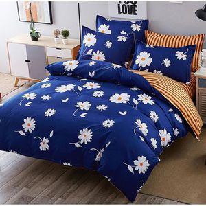 parure de lit 2 personnes housse de couette fleurie imprim e bleu 200x230cm drap de lit. Black Bedroom Furniture Sets. Home Design Ideas