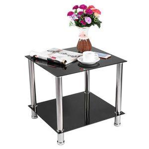TABLE BASSE Table basse en verre noir table à café pieds chrom