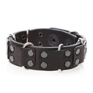 BRACELET - GOURMETTE Carez - Bracelet lanière cuir - noir