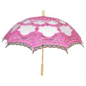 BÂTON - ÉPÉE - BAGUETTE Ombrelle en dentelle tissu rose et blanc