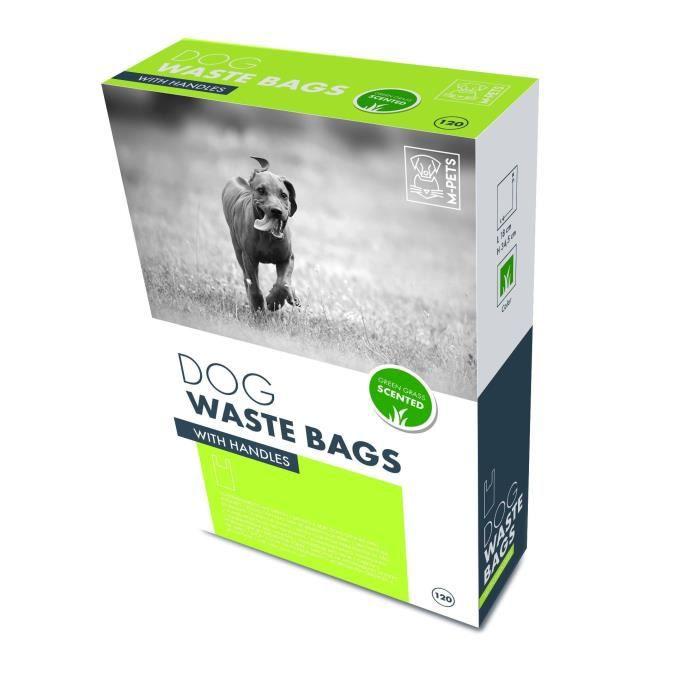MPETS Recharge ramasse crottes avec poignées DOG WASTE BAGS - Pour chien - 120 pcs - Senteur herbe verte