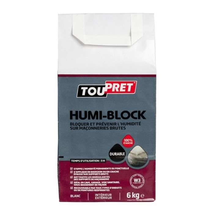 TOUPRET Enduit Humi-block en poudre 6 kg