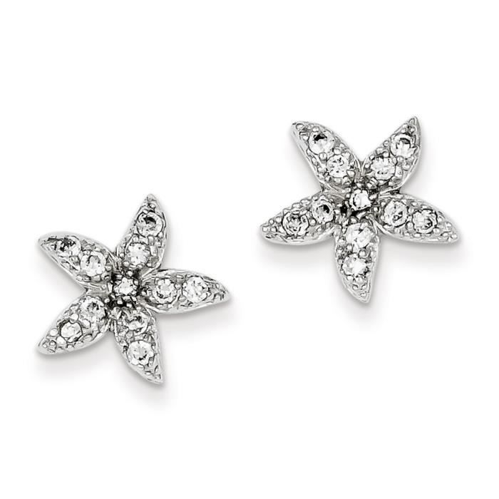 Boucles doreille étoiles de mer en argent sterling avec zircon cubique