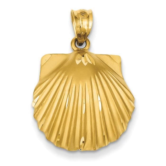 14 Carats Pendentif Coquillage-Dimensions :27,2 x 18,7–mm
