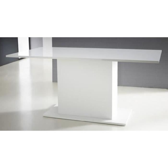 table pied central icy perle/blanc brillant - achat / vente table