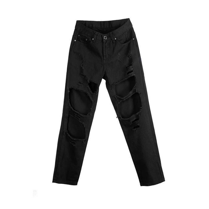 tr s bonne qualit pantalon jeans straight trou pour fille femme blanc noir achat vente. Black Bedroom Furniture Sets. Home Design Ideas