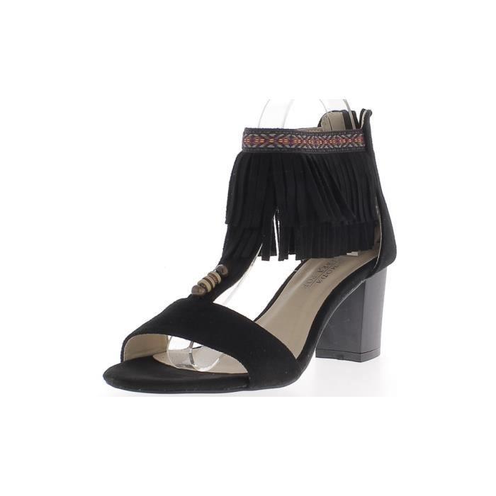 aspect 7cm Sandales gros à avec daim franges noires de talon wxRRXYfq