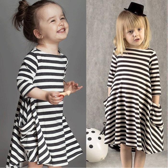 Manches longues poche occasionnel robe a-line de nouveaux enfants fille