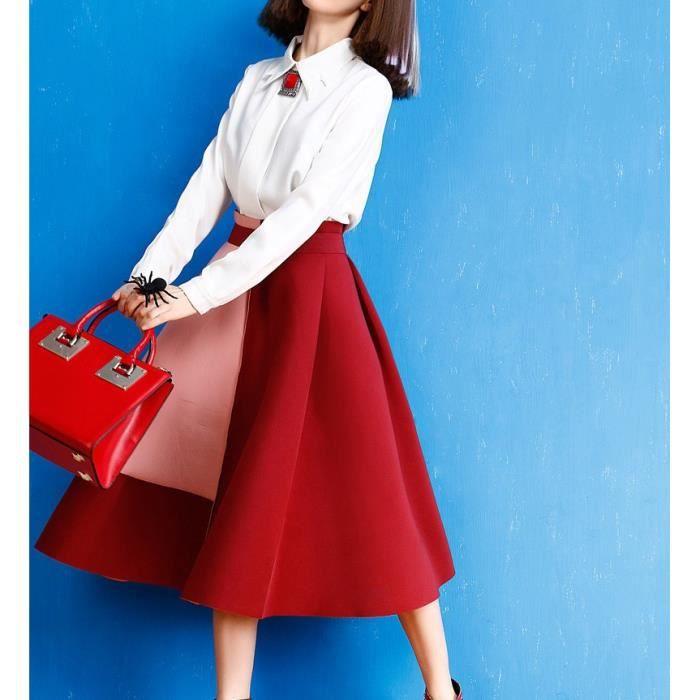 bas prix 326fc 30369 Rouge Jupe Trapèze Plissé Mi-Longue Femme Taille Haute ...